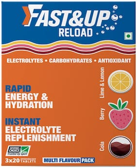 Fast&Up Reload (Electrolytes) for Instant Energy & Hydration Sports Drink MultiFlavour Pack (60 Effervescent Tablets)