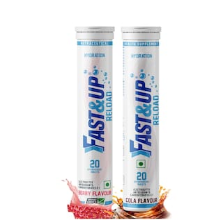 Fast&Up Reload (Electrolytes) for Instant Energy & Hydration Sports Drink - Berry & Cola Combo (40 Tablets)