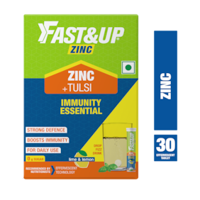 Fast&Up Zinc with Tulsi Extract for Daily immunity & Well Being 30 Effervescent Tablets, Lime & Lemon 200 g