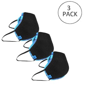 Fastrack Super Shield 4 Layers Face Mask Reusable Black Free Size  (Pack of 3)