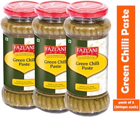 FAZLANI FOODS Green Chilli Paste (Pack of 3) (300g each)
