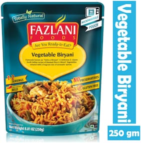 Fazlani Foods Ready To Eat Subz-E-Biryani (Mixed Vegetable Basmati Rice), (Pack Of 1, 250 g)