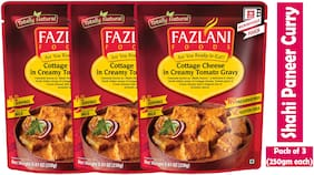 Fazlani Foods Ready To Eat Shahi Paneer (Cottage Cheese In Tangy Tomato Sauce) Curry, (Pack Of 3, 250g Each)