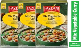 Fazlani Foods Ready To Eat Mix Vegetable Curry, (Pack Of 3, 250 g Each)