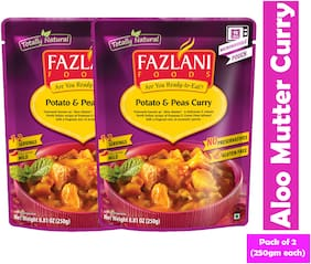 Fazlani Foods Ready To Eat Aloo Mutter(Potato & Peas) Curry, (Pack Of 2, 250g Each)