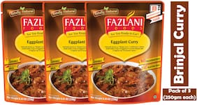 Fazlani Foods Ready To Eat Brinjal (Eggplant) Curry, (Pack Of 3, 250g Each)