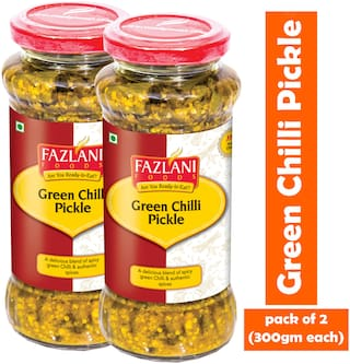 FAZLANI FOODS Green Chilli Pickle (Pack of 2) (300g each)
