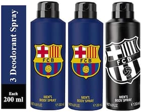 FC BARCELONA Two BLUE and One BLACK Deodorant Spray for Men -200ml(Pack of 3)