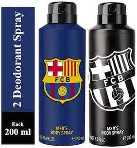 FC BARCELONA One BLUE and One BLACK Deodorant Spray for Men -200ml(Pack of 2)