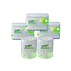 femiss cotton swabs combo of box and Jar of 100 sticks (pack of 5)
