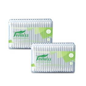 femiss cotton swabs box of 200 sticks (pack of 2)