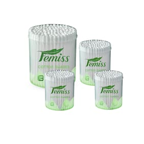 femiss cotton swabs combo of Jar of 200 &100 sticks (pack of 4)