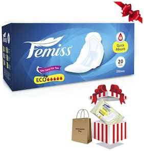 Femiss Super Soft Over Night Sanitary Pads ECO++  Extra Large Size (290mm:20 pcs pads)+ Disposable Bag & Ultra Thin Eco+ 4pcs Sanitary pad