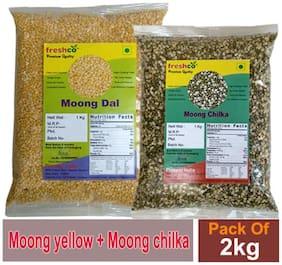 Freshco Moong Chilka + Moong Yellow Dal 1 kg (Pack of 2)