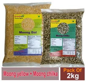 Freshco Moong Chilka + Moong Yellow Dal 1 kg (Pack of 2)