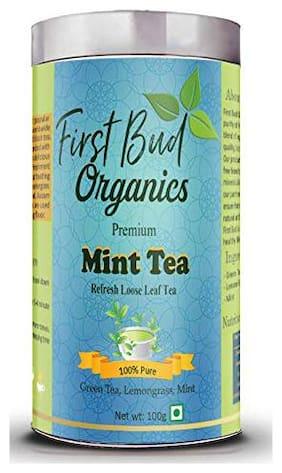 First Bud Organics Mint tea with Peppermint and lemongrass 100g (Pack Of 1)