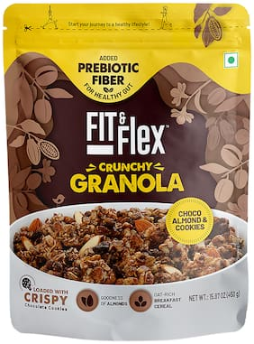 Fit & Flex Granola Oat Rich Breakfast Cereal  Choco Almond & Cookie (450g)(Pack of 1)
