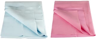 Flo-Rite Water Proof And Reusable Mat/Mattress Protector/Absorbent Sheets (Sea Blue;Baby Pink) (Set of 2)