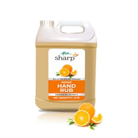 FLOH Sharp Instant Hand Rub Sanitizer With Orange Flavor & 70% Alcohol Based Hand Sanitizer, 5l Plastic Can