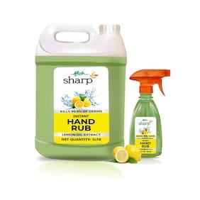 FLOH Sharp Instant Hand Rub Sanitizer With Lemon Flavor & 70% Alcohol Based 5L can+ 500 ml Rub Spray Bottle