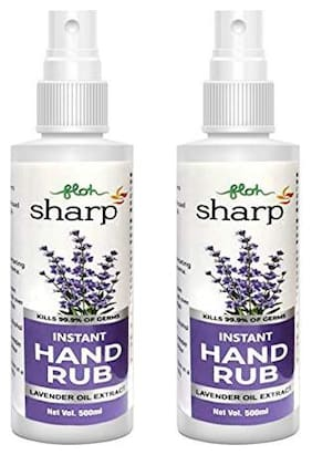 FLOH Sharp Instant Hand Rub Sanitizer with Lavender extract & 70% Alcohol Hand Sanitizer Alcohol Based 500 ml Spray(Pack of 2)