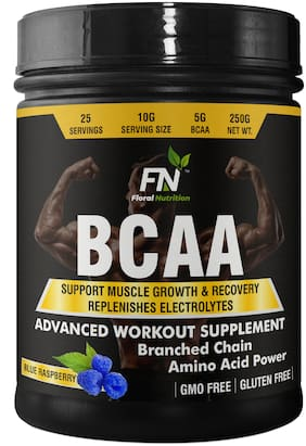 Floral Nutrition BCAA Protein Supplement of L-Leucine,L-Isoleucine,L-Valine-Muscle Growth/ Recovery BCAA  (250 g, Blue Raspberry)