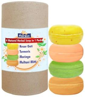 Florous 4 Natural Herbal Soap in 1 Pack ( Kesar Goti;Turmeric;Moringa;Multani Mitti Soap ) 100 g (Pack Of 4)