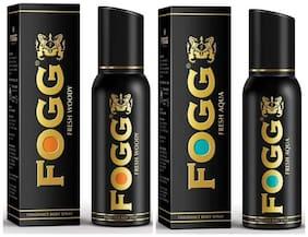 Fogg Fresh Woody & Aqua Fragrance Body Spray - 150 ml each