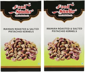 Food Studio Iranian Roasted & Salted Pistachio Kernels Pack of 2 (250 g each)