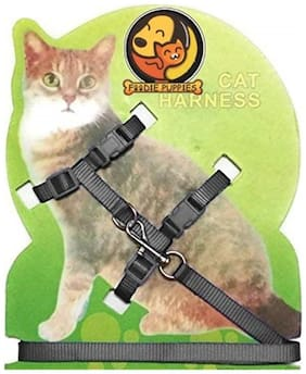 Foodie Puppies Body Harness Set For Cats  Harness And Adjustable Nylon Leash (Color & Pattern May Vary)