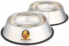 Foodie Puppies Stainless Steel Anti Skid Dog/Pet Bowl Medium Set Of 2