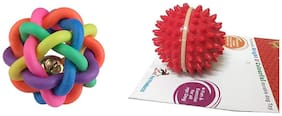 Foodie Puppies Dog Rubber Chew Toy Combo (Squeaky Rainbow Rubber Ball + Spike Ball Toy) Color May Vary