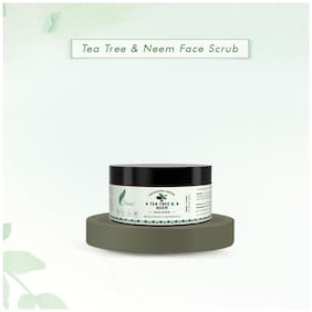 Frescia Tea Tree & Neem Face Scrub Men & Women With Activated Charcoal For Normal To Oily Acne-Prone Skin 100g