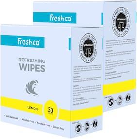 Freshca Refreshing Wet Wipes Single Sachet Men Women Hand Face Lemon Fragrance pH Balanced Alcohol Paraben Silicon Free 50 Pcs (Pack of 2)