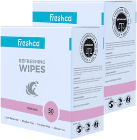 Freshca Refreshing Wet Wipes Single Sachet Men Women Hand Face Orchid Fragrance pH Balanced Alcohol Paraben Silicon Free 50 Pcs (Pack of 2)