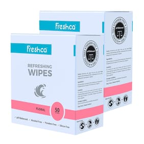 Freshca Refreshing Wet Wipes Single Sachet Men Women Hand Face Floral Fragrance pH Balanced Alcohol Paraben Silicon Free 50 Pcs (Pack of 2)