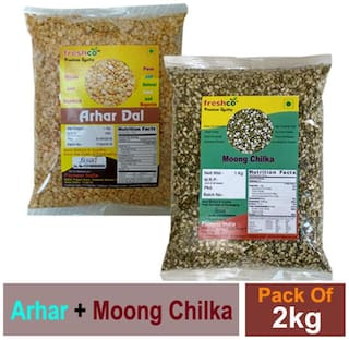 Freshco Arhar + Moong Chilka Green 1 kg (Pack of 2)