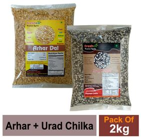 Freshco Arhar + Urad Chilka Black 1 kg (Pack of 2)