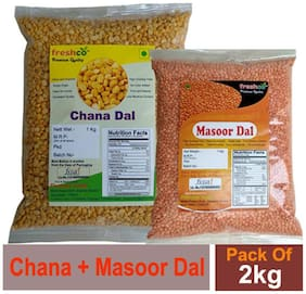 Freshco Chana + Masoor Red Dal 1 kg (Pack of 2)