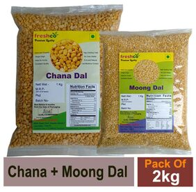 Freshco Chana + Moong Yallow Dal 1 kg (Pack of 2)