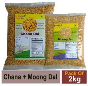 Freshco Chana + Moong Yallow Dal 1 kg (Pack of 2)