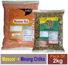 Freshco Masoor Red + Moong Chilka 1 kg (Pack of 2)