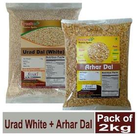 Freshco Urad White + Arhar / Toor Dal 1 kg (Pack of 2)