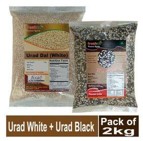Freshco Urad White + Urad Black Dal 1 kg (Pack of 2)