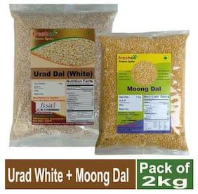 Freshco Urad White + Moong Yellow Dal 1 kg (Pack of 2)