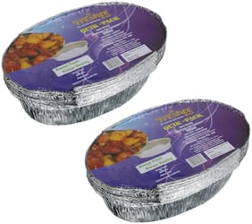 Freshee 10 pcs Strong Disposable Aluminium Silver Foil Container 600ml (Pack of 2)