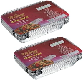Freshee 10 pcs Strong Disposable Aluminium Silver Foil Container 750ml (Pack of 2)