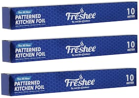 Freshee 10m Aluminium Silver Kitchen Foil Roll Paper/10.5 Micron Thick/Food wrap/Bacteria Resistant/Disposable/Food Parcel/Hookah/Fresh Food ( Pack of 3 )