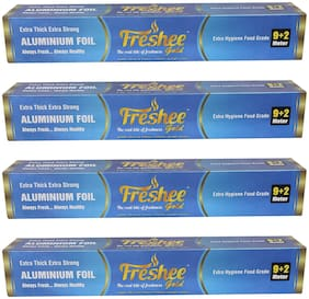 Freshee 11m Aluminium Silver Kitchen Foil Roll Paper, 14 micron Thick, Food Wrap, Bacteria Resistant, Disposable, Food Parcel, Hookah, Fresh Food (Pack Of 4)