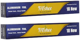 Freshee 18 New Aluminium Silver Kitchen Foil Roll Paper/10.5 Micron Thick/Food wrap/Bacteria Resistant/Disposable/Food Parcel/Hookah/Fresh Food ( Pack of 2 )